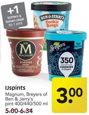 Magnum, Ben & Jerry's of Breyers ijspint 400/440/500 ml voor €3,-