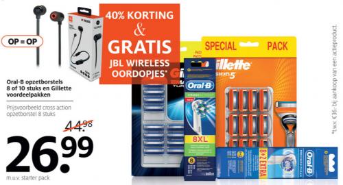 40% Korting op Oral-B opzet borstels of Gilette voordeelverpakking scheermesjes + gratis JBL wireless oordopjes