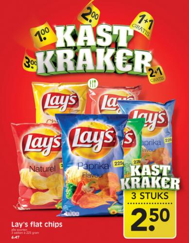 3 Zakken Lay's Flat Chipsa 225 gram voor €2,50