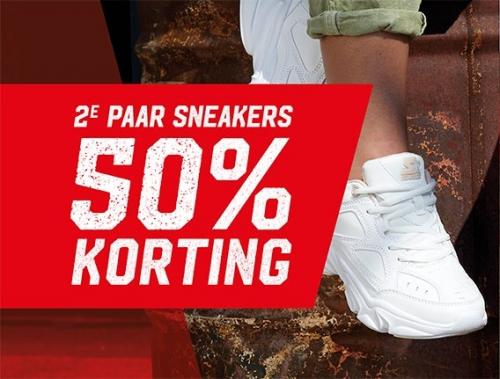 2e paar schoenen 50% extra korting + 10% extra door kortingscode