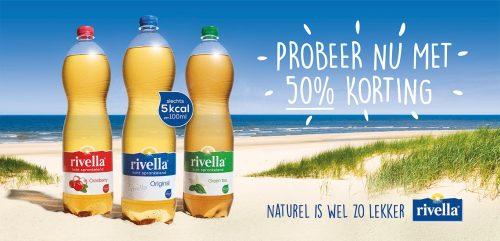 50% Korting op Rivella Original, Green Tea of Cranberry