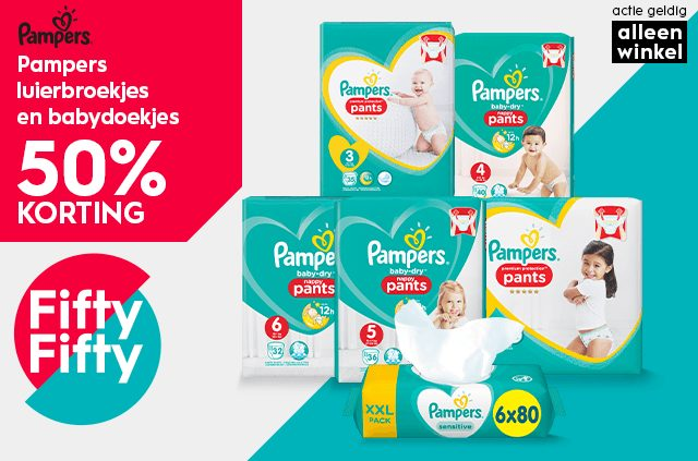 50% Korting op Pampers luierbroekjes en babydoekjes