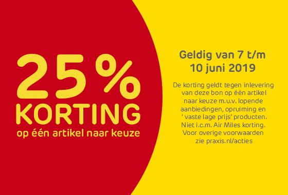 25% en 20% korting op 1 artikel naar keuze door kortingsbonnen bij Praxis