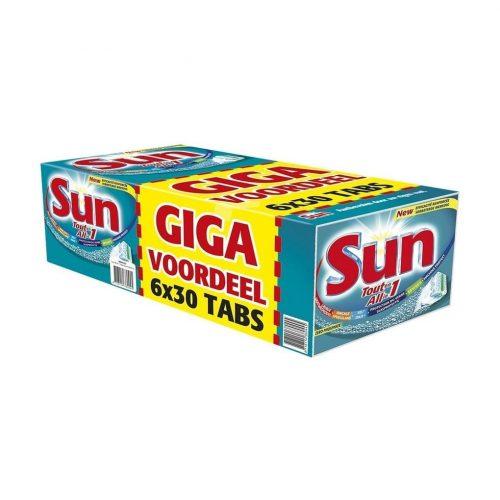 6 x 30 stuks Sun All-in-One Vaatwastabletten voor €17,99