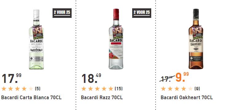 2 flessen Bacardi (0,7L) voor €25