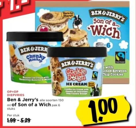 Ben & Jerry's alle soorten 150 ml voor €1