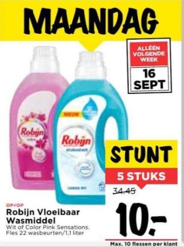 5 Flessen Robijn wasmiddel voor €10