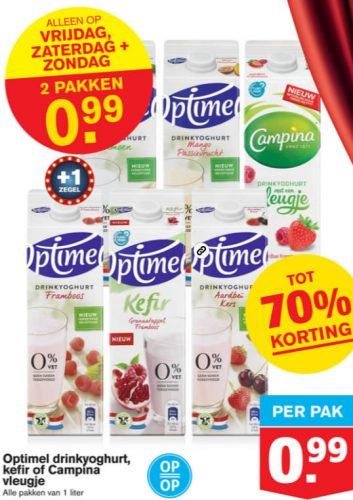 Optimel kefir, drinkyoghurt, of Campina vleugje 2 pakken voor €0,99