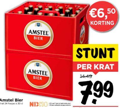Krat Amstel bier voor €7,99 bij Vomar