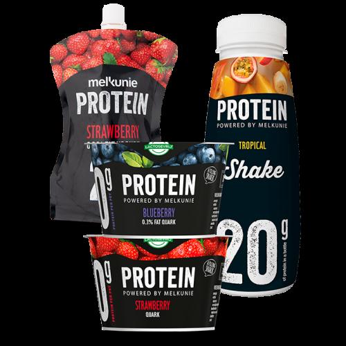 1+1 Gratis op Melkunie Protein 2 stuks à 200 gram of flessen à 225 ml