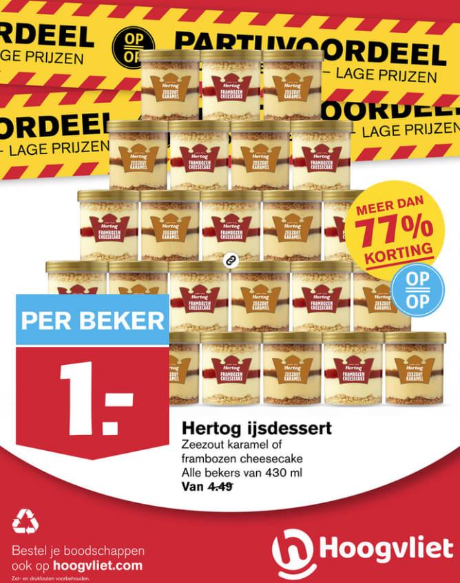 Hertog ijsdessert zeezout karamel of frambozen cheesecake voor €1