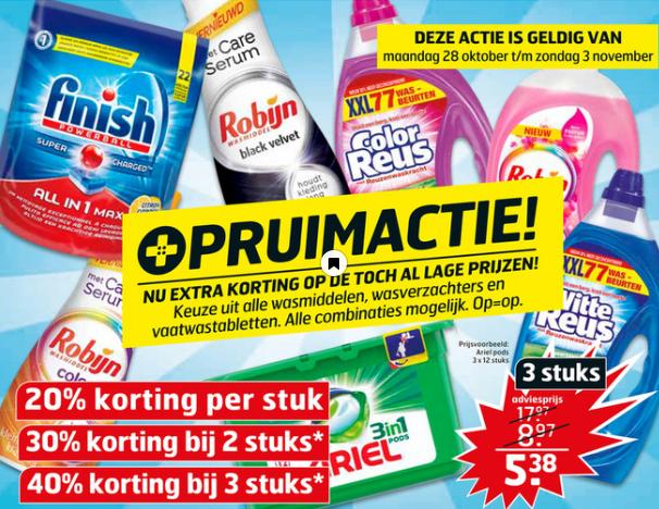 3 Flessen witte of color reus 100 wasbeurten voor €18