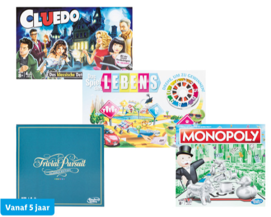 Hasbro Levensweg, Monopoly, Cluedo of Triviant voor €18,99