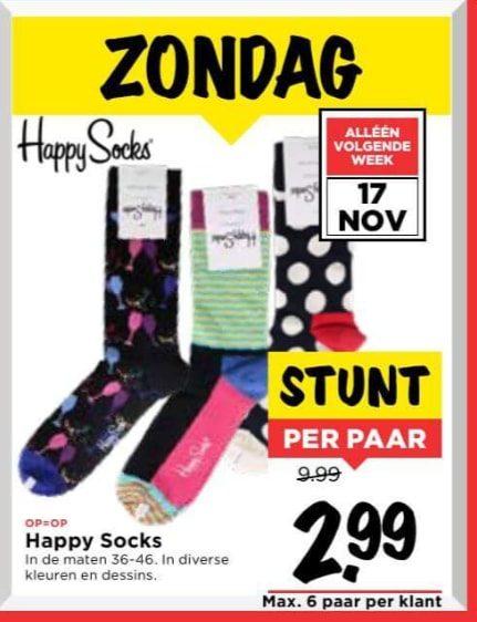Happy Socks voor €2,99 bij de Vomar