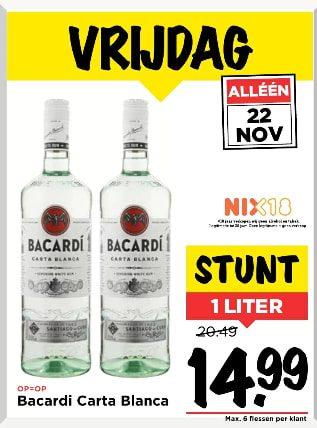 Bacardi Carta Blanca 1 liter voor €14,99