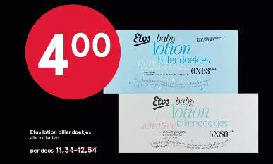 Etos lotion billendoekjes voor €4