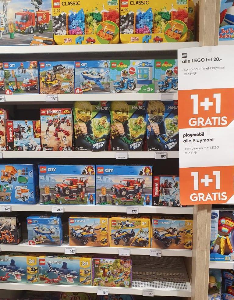 1+1 Gratis op alle LEGO en Playmobil bij Blokker