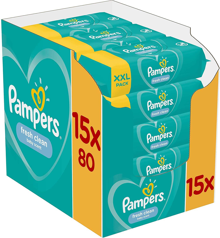 Pampers Fresh Clean billendoekjes 1200 stuks voor de gevoelige huid voor €17,03