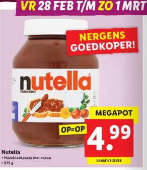 Mega Pot Nutella à 975 gram voor €4,99