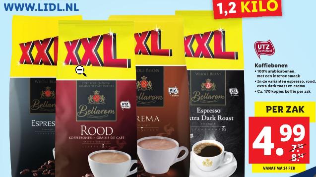 1.2 kilo Bellarom Koffiebonen voor €4,99