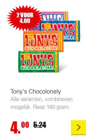 2 Tony Chocolonely repen voor €4,-