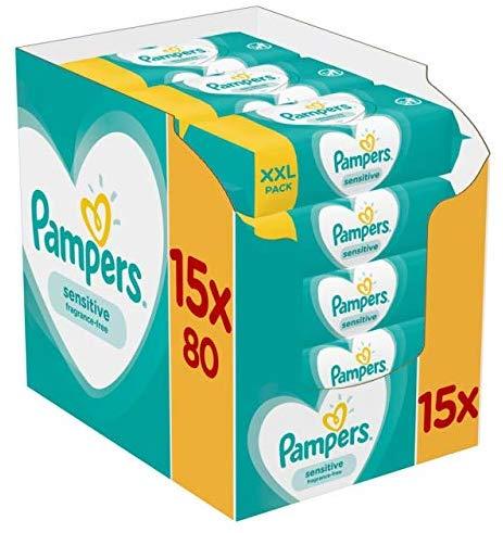 Pampers Sensitive Babydoekjes 15 Verpakkingen = 1200 Doekjes voor €15,99