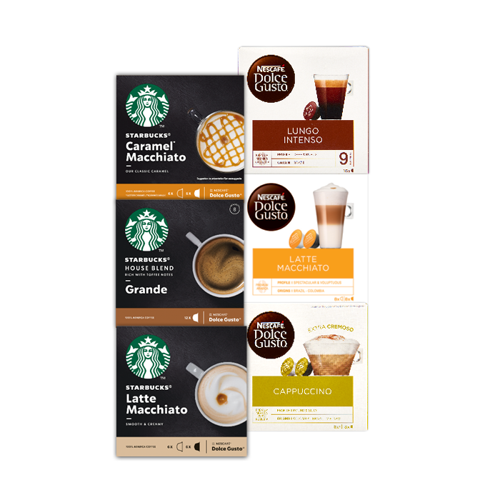 Alle Nescafé® Dolce Gusto of Starbucks cups 3 doosjes voor €9
