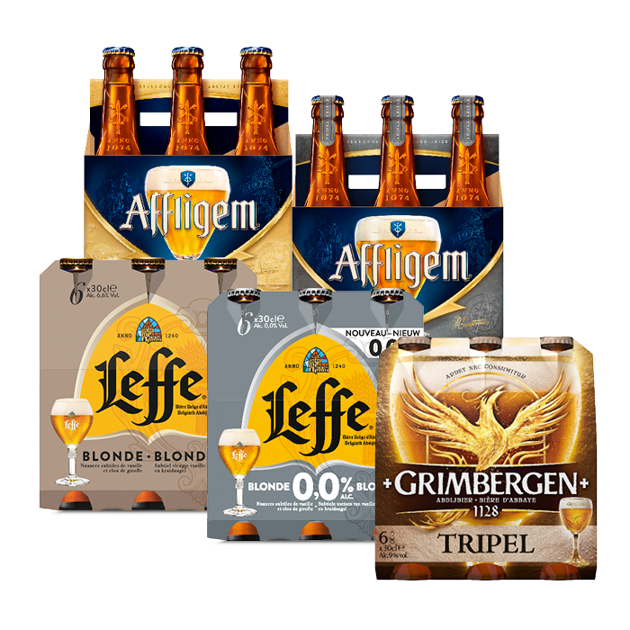 4 of 6-packs Grimbergen, Affligem of Leffe bier of 0,0% 1+1 gratis