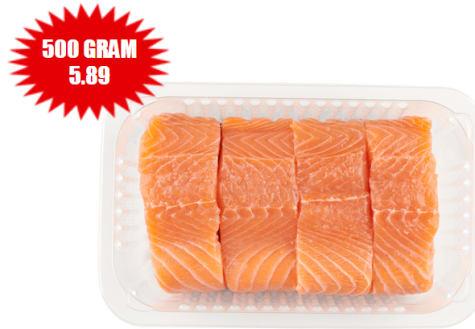 Halve kilo zalmfilet op huid voor €5,89