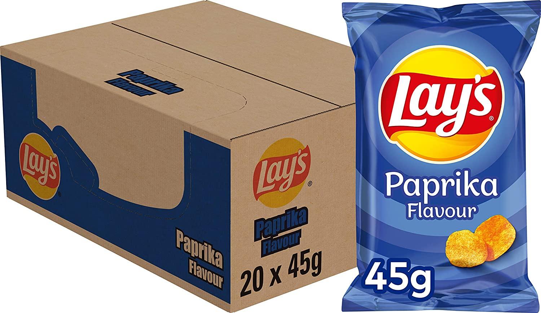Lay's Chips Paprika – Doos van 20 stuks x 45 g voor €8