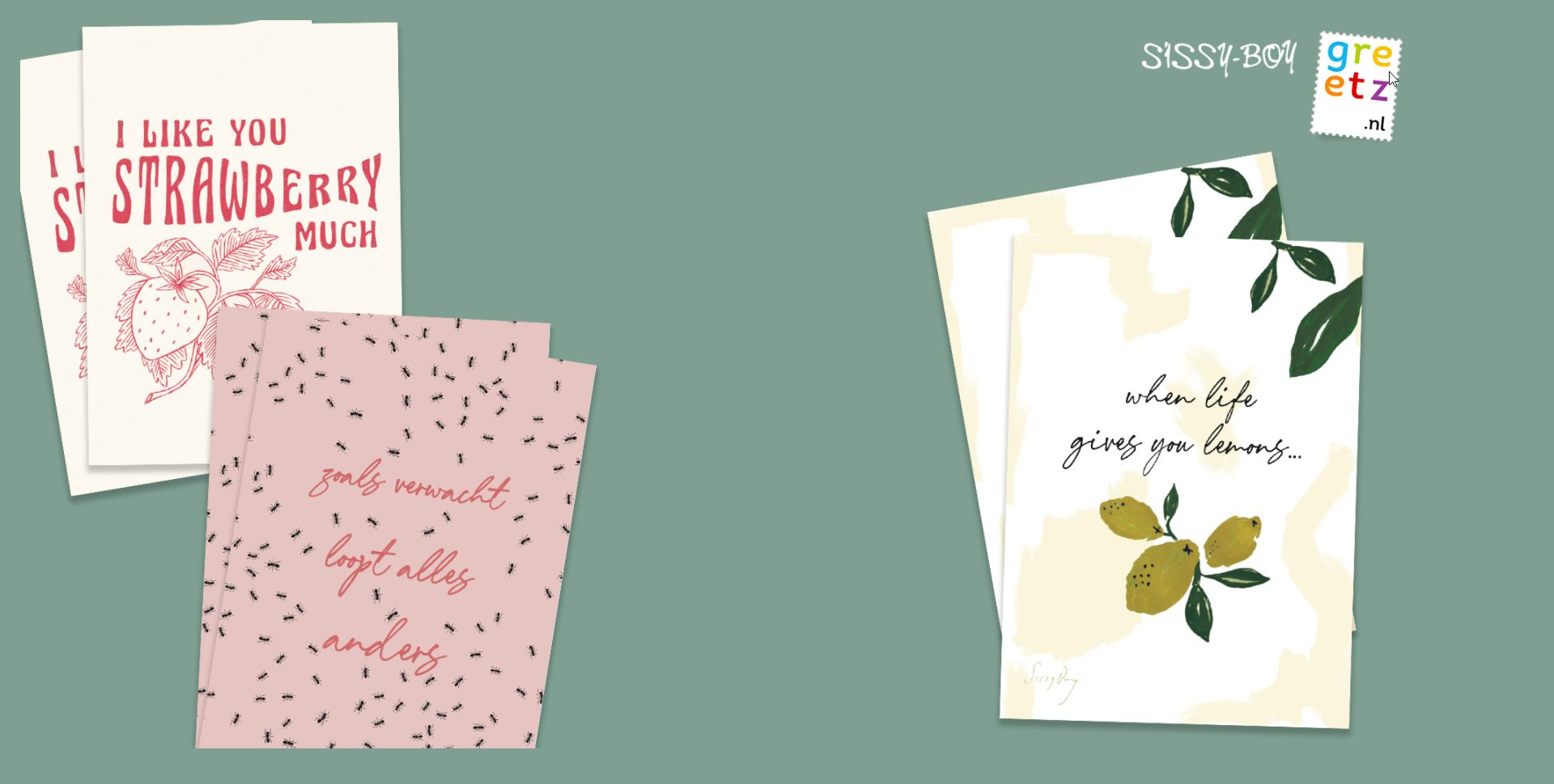 Gratis Greetz kaart bij aanmelding van de Sissy-boy nieuwsbrief