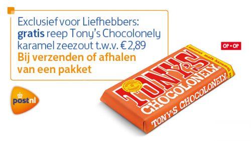 Gratis Tony's Chocolonely karamel zeezout bij pakket ophalen of versturen bij PostNL punt bij Jan Linders