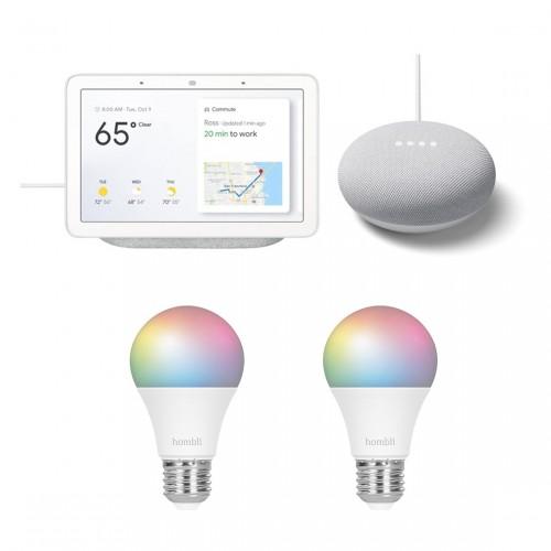 Google Nest Hub + Nest Mini + Hombli Smart Bulb E27 Colour 2-pack voor €99