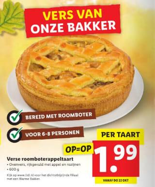 Verse roomboter appeltaart voor €1,99