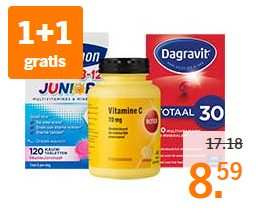 Alle vitamines, mineralen en supplementen 1+1 gratis