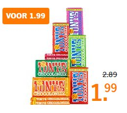 Alle Tony Chocolonely voor €1,99