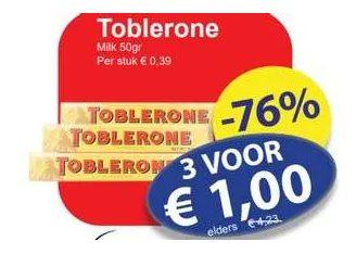 Toblerone 3 stuks voor €1 bij Die Grenze