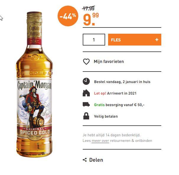 Captain Morgan Spiced Rum 70cl voor €9,99.