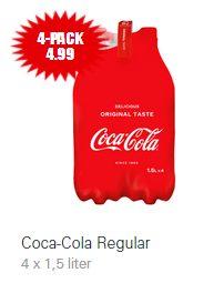 4 pack Coca Cola 1,5 liter flessen voor €4,99