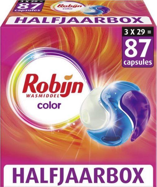 87x Robijn Color 3 in 1 Wascapsules voor €16