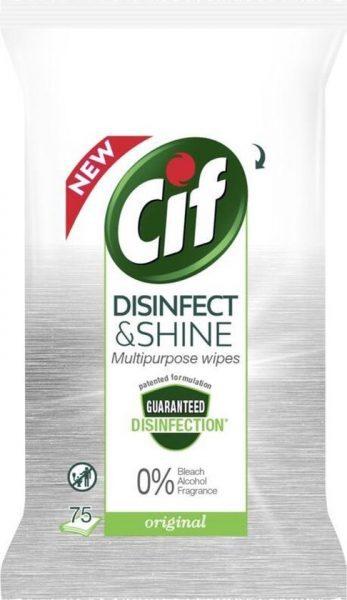 375x Cif disinfect & shine wipes schoonmaakdoekjes voor €7,98