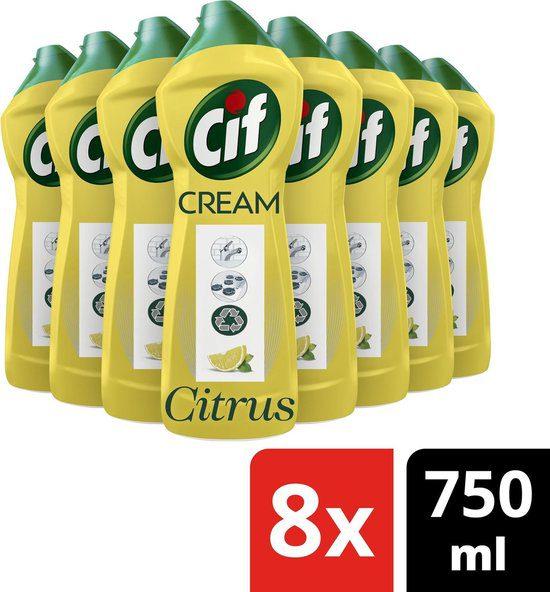 8x Cif Schuurmiddel Cream Citroen 750 ml voor €6,22