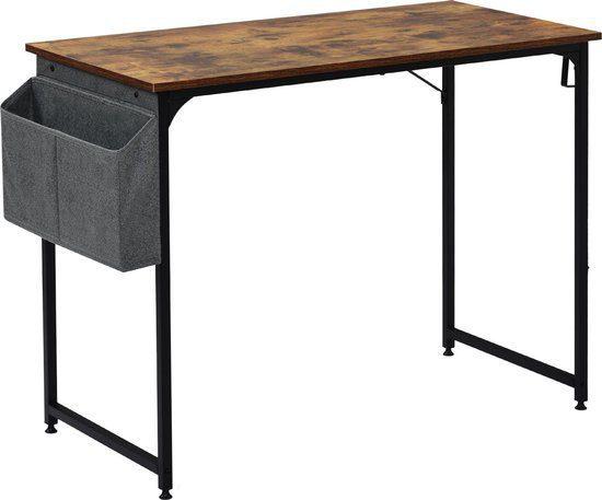 Modernluxe Bureautafel – Met Opbergzakken – Bruin/Zwart – 50x75x100cm voor €20,-