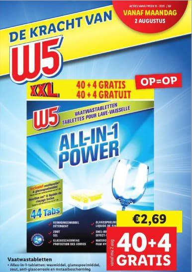 W5 All-in-1-Power 44 vaatwasblokjes voor €2,69