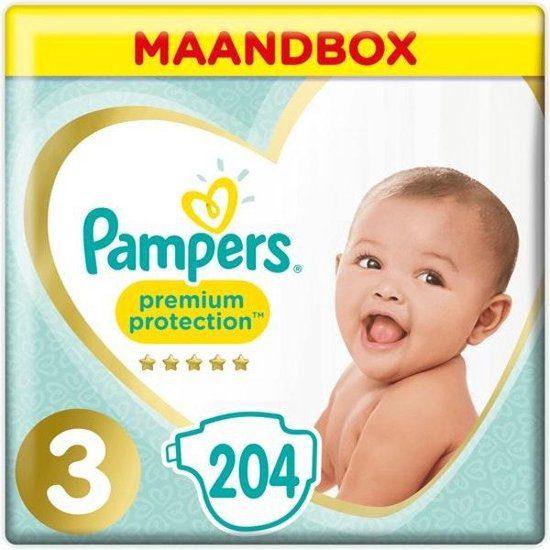 204x Pampers Premium Protection Luiers Maat 3 (6-10 kg) voor €26,89